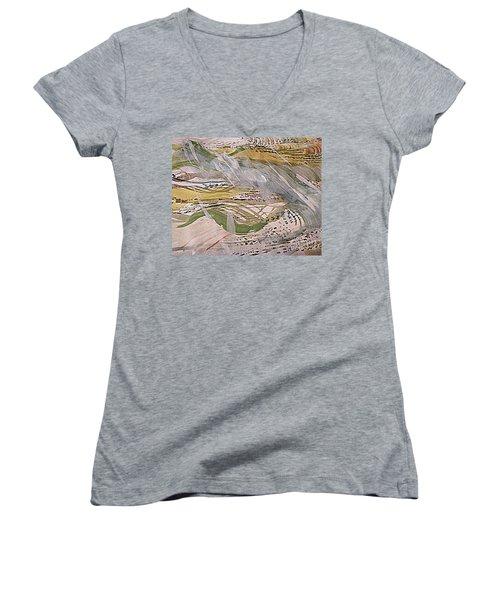 Rain In The  Valley Women's V-Neck T-Shirt (Junior Cut) by Nancy Kane Chapman