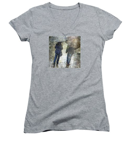 Rain Through The Fountain Women's V-Neck T-Shirt