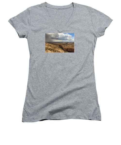 Women's V-Neck T-Shirt (Junior Cut) featuring the photograph Rain And Sun Over Calf Creek. by Johnny Adolphson