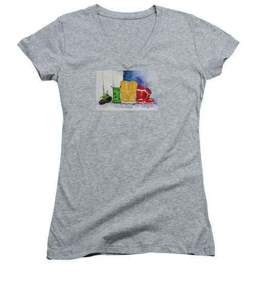 Rainboots Women's V-Neck T-Shirt