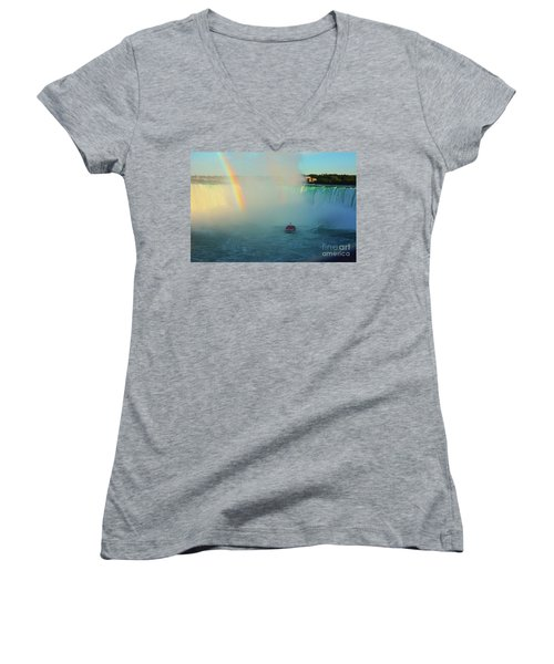 Rainbow At Horseshoe Falls Women's V-Neck