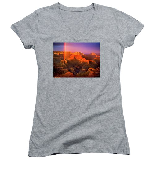 Rainbow At The Grand Canyon Women's V-Neck (Athletic Fit)
