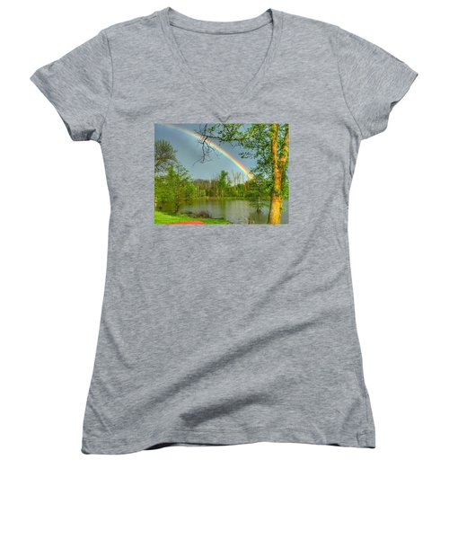 Women's V-Neck T-Shirt (Junior Cut) featuring the photograph Rainbow At The Lake by Sumoflam Photography