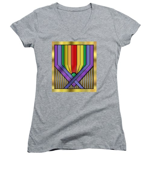 Women's V-Neck T-Shirt (Junior Cut) featuring the digital art Rainbow Base Transparent by Chuck Staley