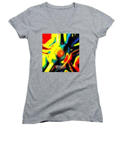 Women's V-Neck T-Shirt (Junior Cut) featuring the photograph Rainbow Bliss #051347 by Barbara Tristan