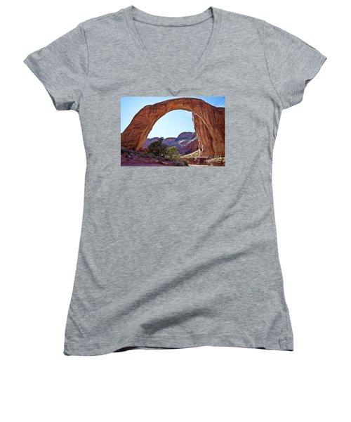 Rainbow Bridge Women's V-Neck T-Shirt (Junior Cut) by Kathy McClure