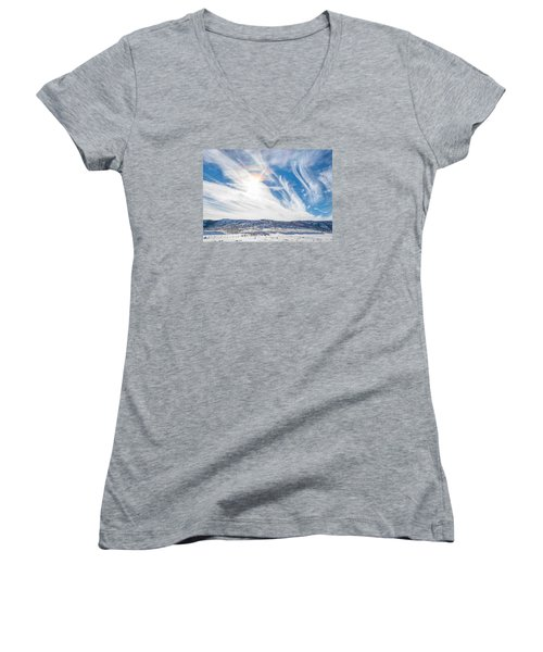 Rainbow Clouds Women's V-Neck