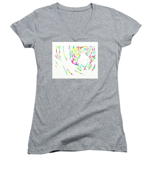 Rainbow Coloured Tiger Women's V-Neck