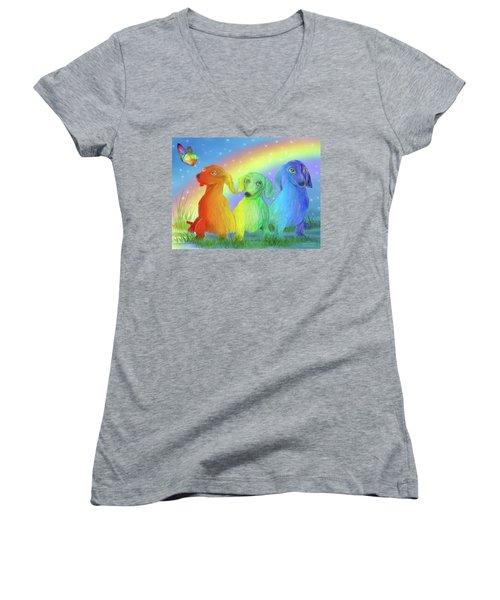 Women's V-Neck T-Shirt featuring the mixed media Rainbow Doxies 2 by Carol Cavalaris