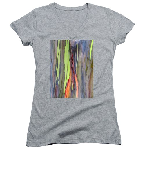 Rainbow Eucalyptus 13 Women's V-Neck T-Shirt (Junior Cut) by Dawn Eshelman