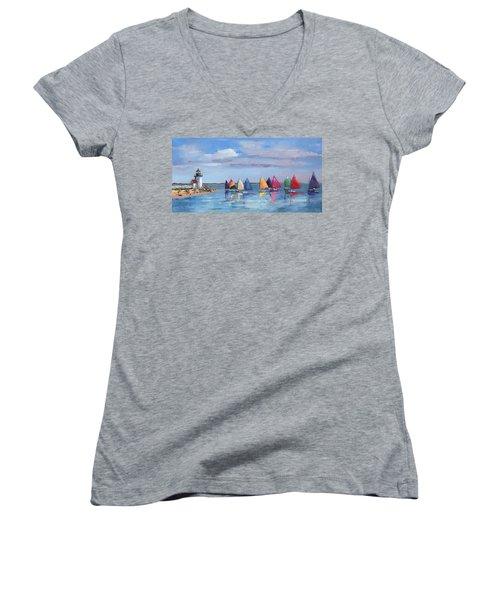 Rainbow Fleet Parade At Brant Point Women's V-Neck T-Shirt (Junior Cut) by Trina Teele
