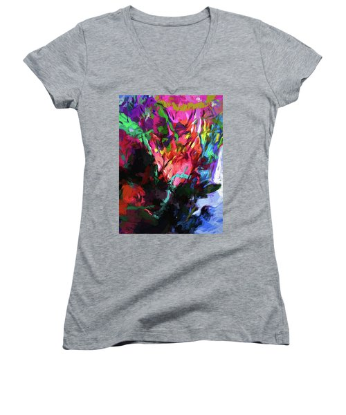 Rainbow Flower Rhapsody Red Turquoise Blue Women's V-Neck (Athletic Fit)