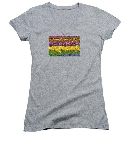 Rainbow Flowers Women's V-Neck T-Shirt (Junior Cut) by Nadia Sanowar