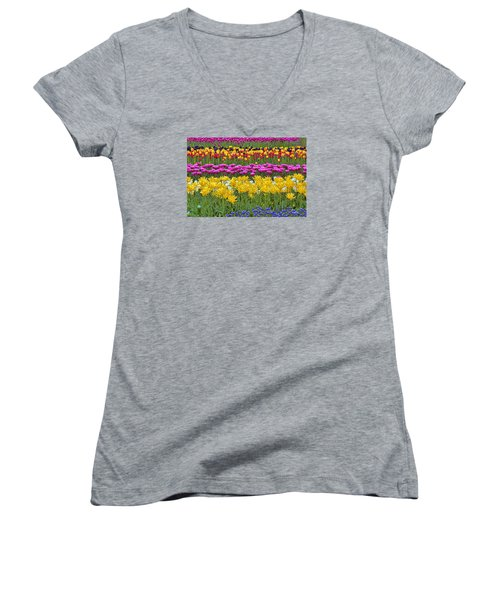 Rainbow Flowers Women's V-Neck