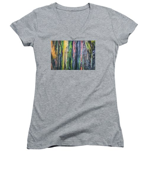 Women's V-Neck T-Shirt (Junior Cut) featuring the photograph Rainbow Forest by Ryan Manuel
