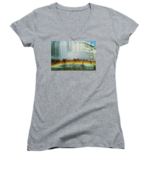 Women's V-Neck T-Shirt (Junior Cut) featuring the photograph Rainbow Fountain In Vienna by Mariola Bitner