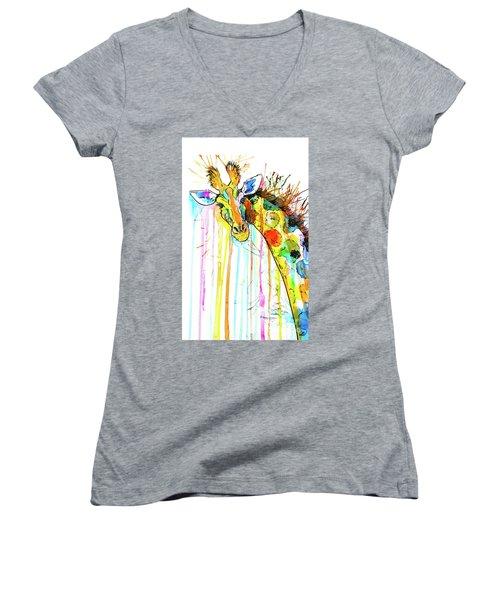 Women's V-Neck T-Shirt featuring the painting Rainbow Giraffe by Zaira Dzhaubaeva