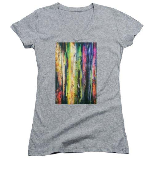 Women's V-Neck T-Shirt (Junior Cut) featuring the photograph Rainbow Grove by Ryan Manuel