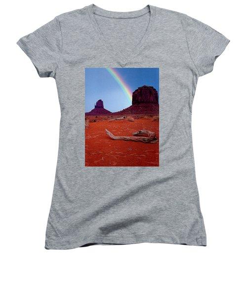 Rainbow In Monument Valley Arizona Women's V-Neck T-Shirt (Junior Cut) by Merton Allen