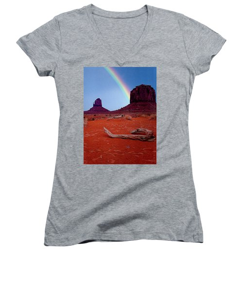 Rainbow In Monument Valley Arizona Women's V-Neck (Athletic Fit)