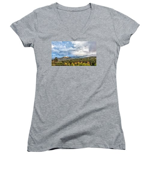 Women's V-Neck T-Shirt (Junior Cut) featuring the photograph Rainbow In The San Juan Mountains by Jon Glaser