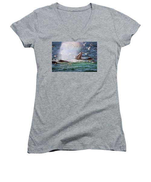 Rainbow In The Spray 2 Women's V-Neck (Athletic Fit)