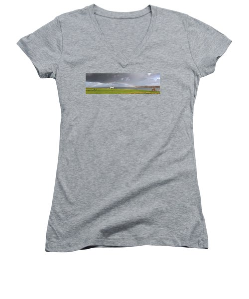 Rainbow, Island Of Iona, Scotland Women's V-Neck T-Shirt