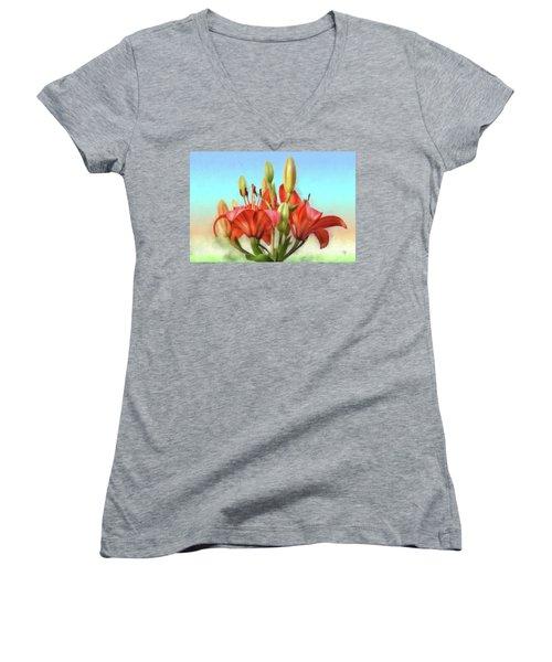 Women's V-Neck T-Shirt (Junior Cut) featuring the photograph Rainbow Lilies by Lois Bryan