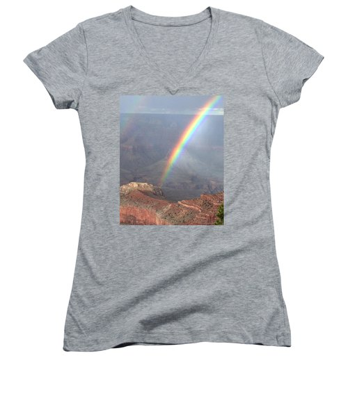 Rainbow Meets Mather Point Women's V-Neck