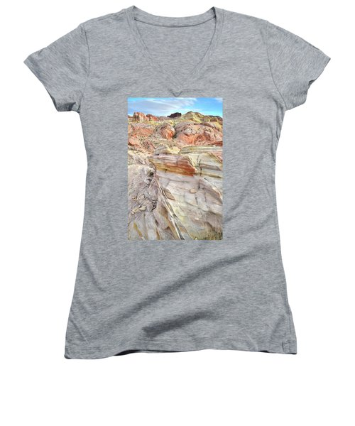 Rainbow Of Color At Valley Of Fire Women's V-Neck T-Shirt (Junior Cut) by Ray Mathis