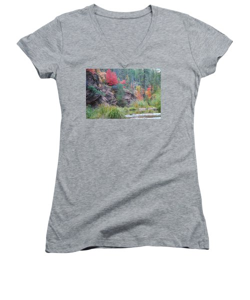 Rainbow Of The Season With River Women's V-Neck T-Shirt (Junior Cut) by Heather Kirk