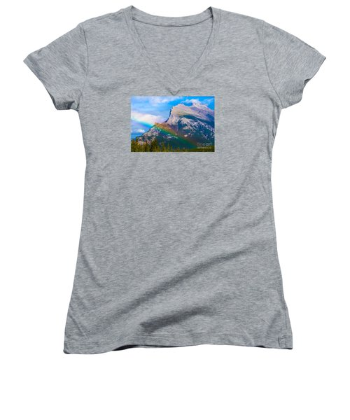 Rainbow On Mt Rundle Women's V-Neck T-Shirt