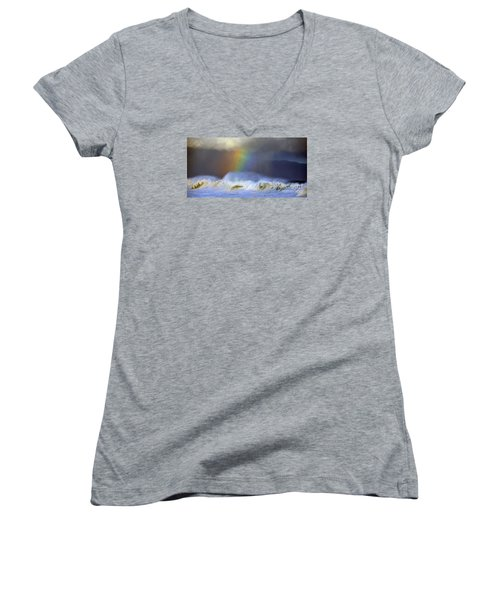 Rainbow On The Banzai Pipeline At The North Shore Of Oahu 2 To 1 Ratio Women's V-Neck T-Shirt (Junior Cut) by Aloha Art