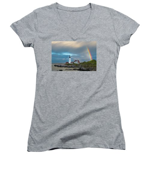 Rainbow Over Portland Head Light Women's V-Neck (Athletic Fit)
