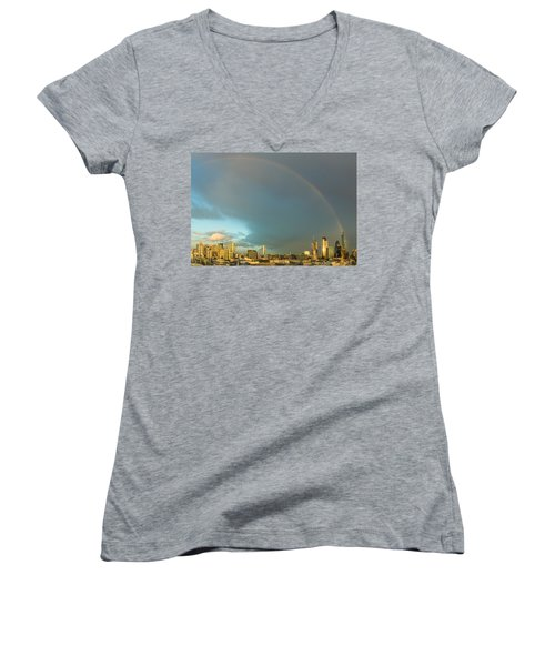 Rainbow Over The City Of London Women's V-Neck
