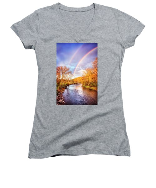 Women's V-Neck T-Shirt (Junior Cut) featuring the photograph Rainbow Over The River II by Debra and Dave Vanderlaan