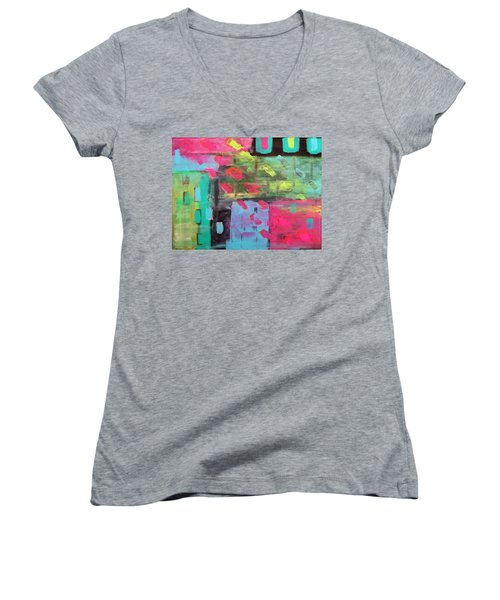 Rainbow Rain Women's V-Neck T-Shirt (Junior Cut) by Tamara Savchenko
