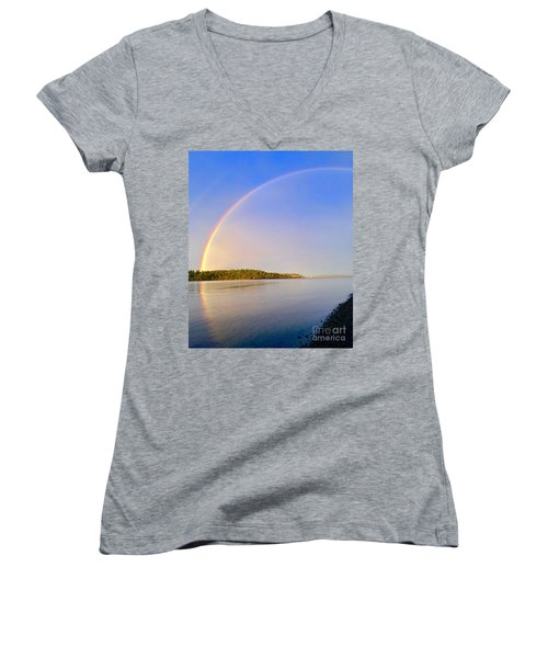 Rainbow Reflection Women's V-Neck T-Shirt (Junior Cut) by Sean Griffin