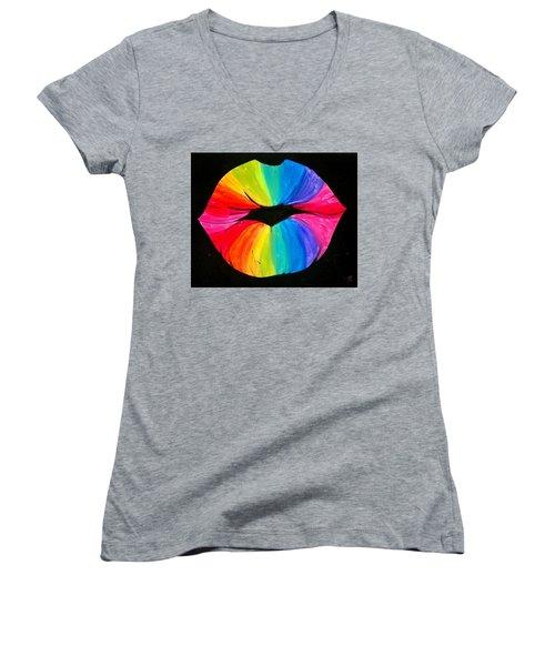 Rainbow Smooch Women's V-Neck T-Shirt (Junior Cut) by Marisela Mungia