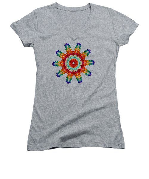 Rainbow Steampunk Sun Fractal Women's V-Neck