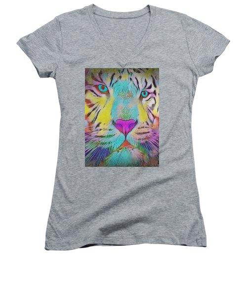 Rainbow Tiger Women's V-Neck T-Shirt