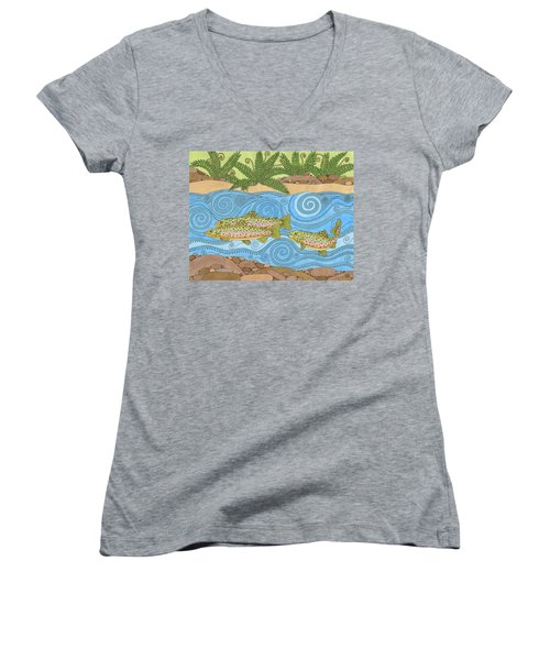 Rainbow Trout Women's V-Neck (Athletic Fit)