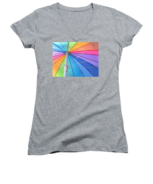 Rainbow Umbrella Women's V-Neck