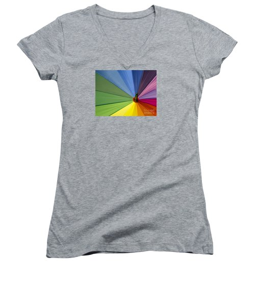 Women's V-Neck T-Shirt (Junior Cut) featuring the photograph Rainbow Umbrella by Inge Riis McDonald