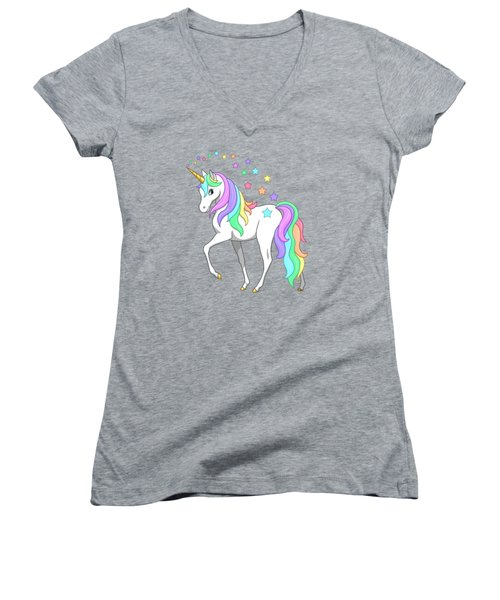 Rainbow Unicorn Clouds And Stars Women's V-Neck T-Shirt (Junior Cut) by Crista Forest