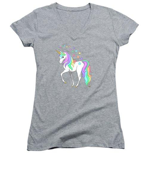 Rainbow Unicorn Clouds And Stars Women's V-Neck T-Shirt