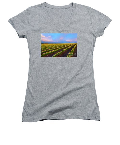 Women's V-Neck T-Shirt (Junior Cut) featuring the photograph Rainbows, Daffodils And Sunset by Mike Dawson