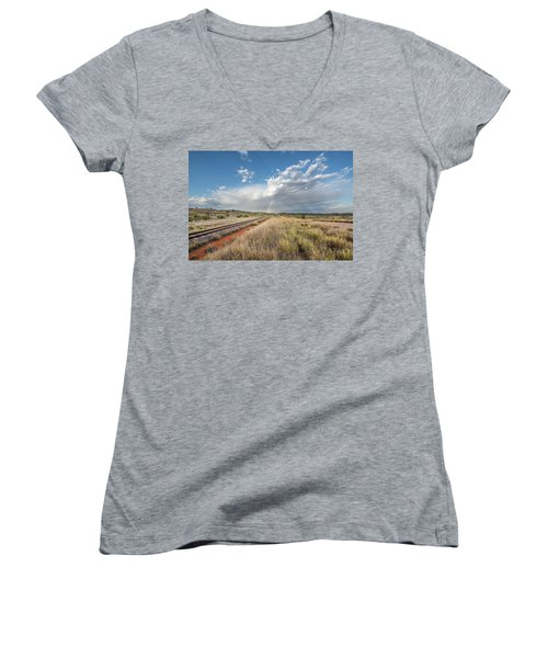 Rainbows Over Ghan Tracks Women's V-Neck