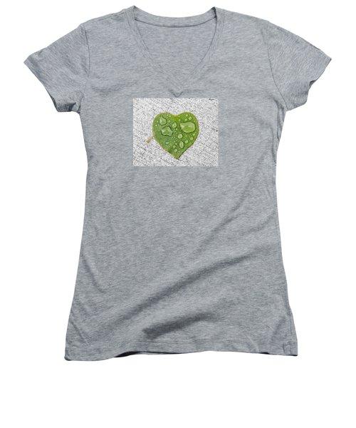 Raindrop Reflections Women's V-Neck T-Shirt (Junior Cut) by Allan Levin