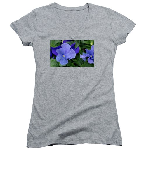 Raindrops On Purple Pansy Women's V-Neck